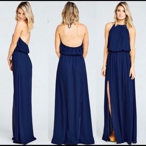 Show Me Your MuMu Dresses - Show Me Your Mumu Heather Halter Dress Navy xs